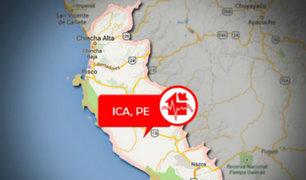 Sismo de magnitud 4.5 se registró esta tarde en Ica