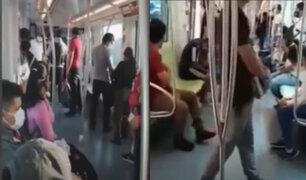 Metro de Lima: pasajeros no acatan distanciamiento físico en vagones