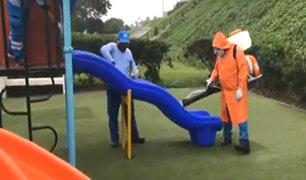 Niños saldrán de casa desde el lunes 18: desinfectan 75 parques en Miraflores