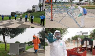 Limpian y desinfectan parques de Miraflores y San Isidro ante próxima salida de menores