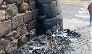 Cusco: queman basura y dañan muro inca en calle del centro histórico
