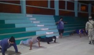[VIDEO] Cañete: militares y policías castigan con ejercicios físicos a infractores de cuarentena