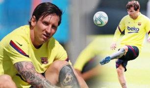 Lionel Messi entrena con sus compañeros a la espera del regreso del fútbol en España