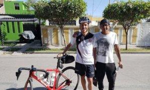 Deportista maneja bicicleta desde Arequipa rumbo a Ayacucho para reunirse con su familia