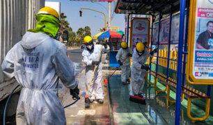 Desinfectan más de 60 paraderos en la avenida Universitaria