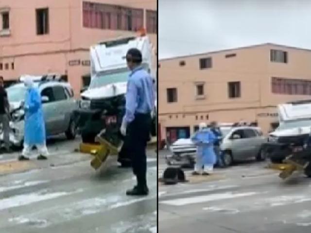 Reportan aparatoso choque entre ambulancia y un auto en Cercado de Lima