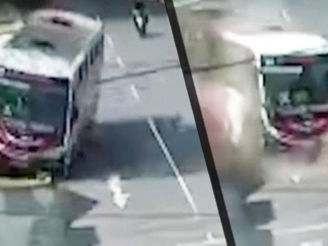 Trujillo: bus se estrella con poste de alumbrado público
