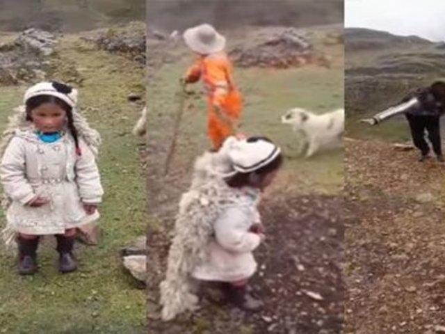 """Pasco: Tierna niña dramatizada cuento del """"Lobo y la Oveja"""""""