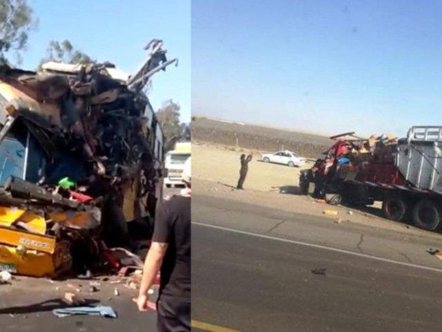 Ica: agricultora muere tras aparatoso choque entre ómnibus y camión