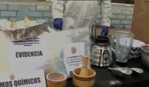 Policía muestra medicamentos e insumos decomisados en laboratorio de Chorrillos