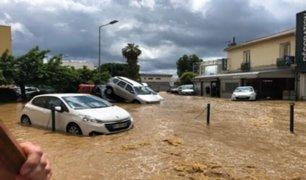 Francia: calles de Ajaccio quedaron convertidas en ríos tras torrenciales lluvias