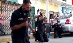 Tumbes: Policías católicos oran por la salud de contagiados por Covid-19