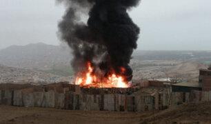 Ventanilla: incendio de grandes proporciones se registró en fábrica de pintura