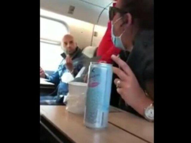 Italia: mujer protagonizó acalorada discusión con pasajero de tren que no utilizaba mascarilla