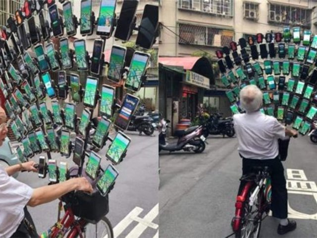 Pokémon Go: adulto mayor taiwanés modifica su bicicleta para colocar 64 teléfonos