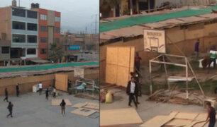 SMP: Desconocidos invaden losa deportiva e instalan precarias viviendas