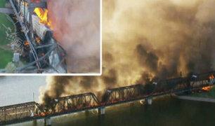EEUU: tren se descarrila e incendia en Arizona