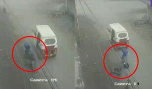 Collique: Ladrones golpean y arrastran a mujer para robarle su cartera