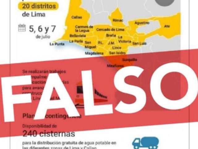 ATENCIÓN: Sedapal desmiente información sobre supuesto corte de agua en 20 distritos