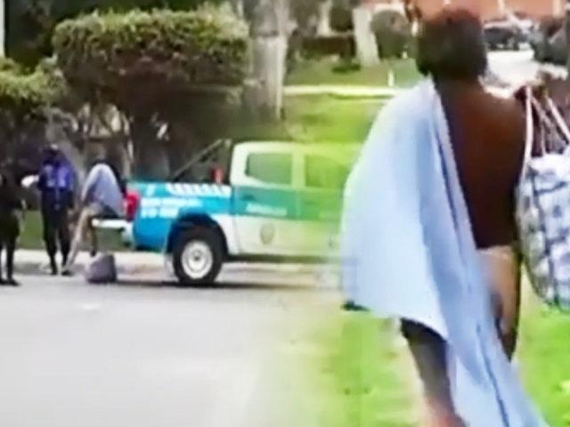 Serenos de Lince abandonan a mujer indigente en parque de La Victoria