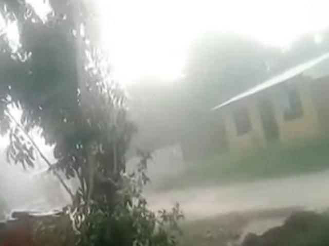 San Martín: Torrencial lluvia y fuertes vientos azotan provincia del Huallaga