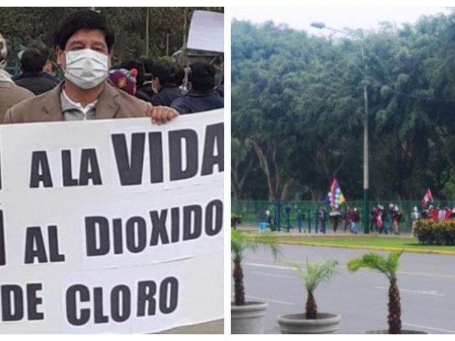 Campo de Marte: policía dispersó con gases lacrimógenos marcha a favor del dióxido de cloro