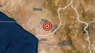 Sismo de magnitud 4.3 se registró esta tarde en Tacna