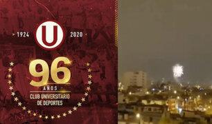 Universitario celebra 96 años de historia en medio de fuegos artificiales