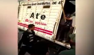 Ate: fiscalizadores fueron agredidos por comerciantes informales con palos y piedras