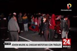Barranca: joven falleció tras choque de mototaxi contra trailer