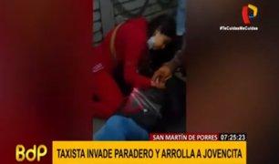 SMP: taxista invade paradero, arrolla a joven y fuga