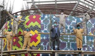 San Isidro: Pintan mural shipibo-conibo en Parque Bicentenario