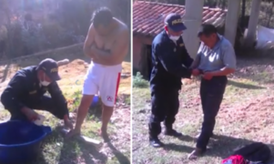 Policía ayuda a bañar a sujeto con esquizofrenia que se resistía a ser aseado