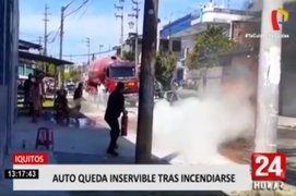 Iquitos: auto se incendió por corto circuito