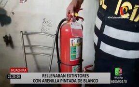 Huachipa: Intervienen taller donde rellenaban extintores con arenilla pintada de blanco