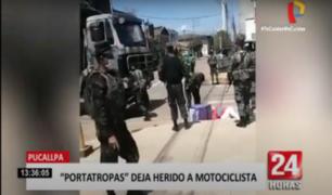 Pucallpa: impactante video muestra instante en que portatropas choca a motociclista