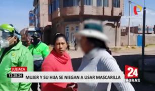 Juliaca: intervienen a madre e hija que se niegan a usar mascarilla