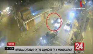 Tacna: motocarga impacta violentamente contra poste tras intentar adelantar a camioneta