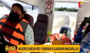 Loreto: mujeres cruzan río Putumayo para enseñar a elaborar mascarillas a comunidades indígenas