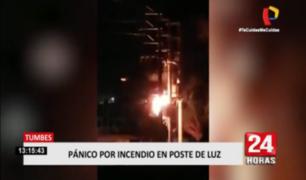 Fuego en poste de alumbrado público provocó pánico en Tumbes