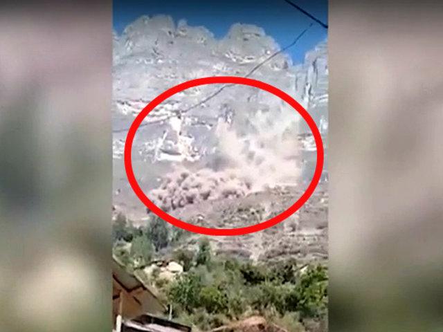 Huaraz: derrumbe de cerro genera pánico en la población