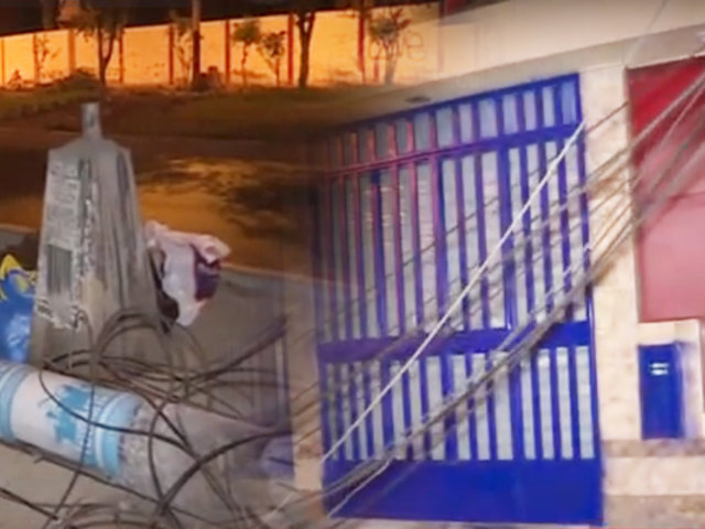 Grúa derriba tres postes de alumbrado público y se fuga en SMP