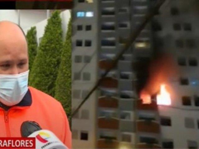 Miraflores: Cortocircuito habría provocado incendio en octavo piso de vivienda multifamiliar