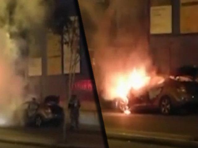 Lince: en la madrugada vehículo se incendia en la avenida Arequipa