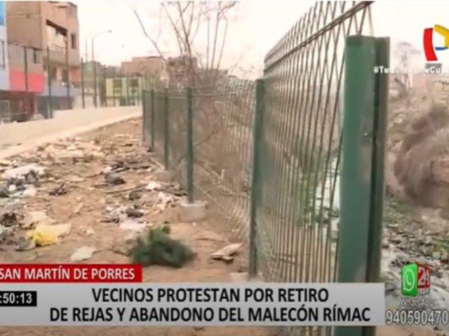 SMP: Vecinos protestan por retiro de rejas y abandono del malecón Rímac