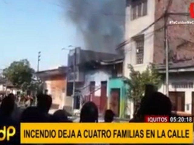 Iquitos: voraz incendio deja en la calle a cuatro familias
