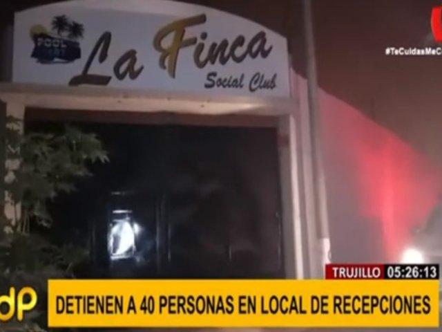 Trujillo: detienen a 40 personas que celebraban dentro de local de recepciones