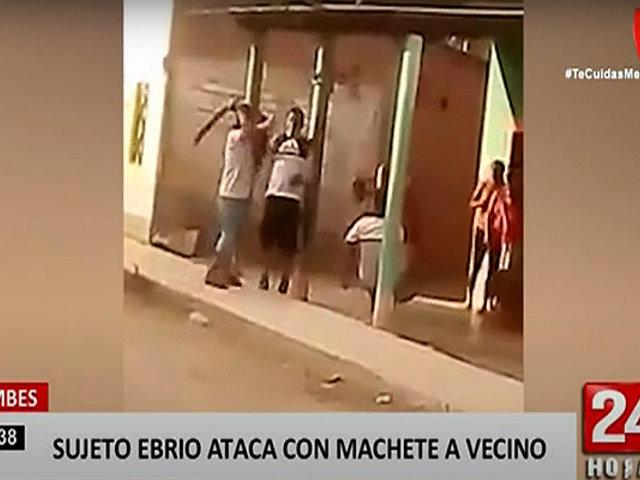 Tumbes: sujeto en estado de ebriedad atacó a un vecino con un machete