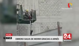 Piura: obrero casi muere al caer de un edificio en construcción