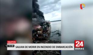 Iquitos: embarcación con 100 personas se incendia en río Amazonas
